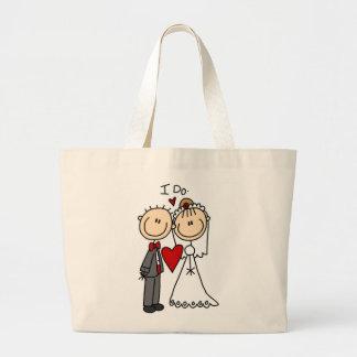 Los pares del boda hago las camisetas y los regalo bolsa tela grande
