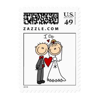 Los pares del boda hago las camisetas y los timbres postales