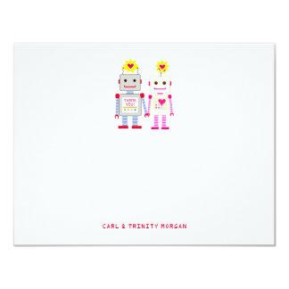 Los pares del robot le agradecen las tarjetas de invitación 10,8 x 13,9 cm