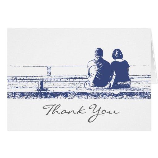 Los pares en la playa le agradecen observar tarjeta pequeña