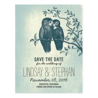 los pares lindos de los búhos del amor ahorran las tarjetas postales
