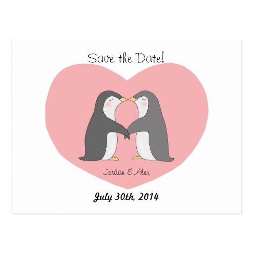 Los pares lindos de los pingüinos ahorran la posta postales