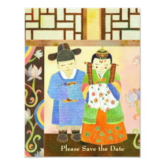 """Los pares lindos del boda ahorran las invitaciones invitación 4.25"""" x 5.5"""""""