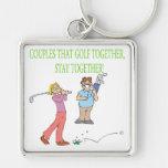 Los pares que Golf juntos permanecen juntos Llavero Personalizado