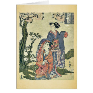 Los pares que miran la luna por Utagawa, Toyokuni Felicitación