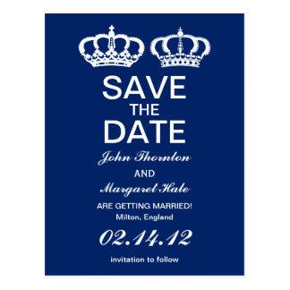 Los pares reales azules ahorran la fecha tarjeta postal