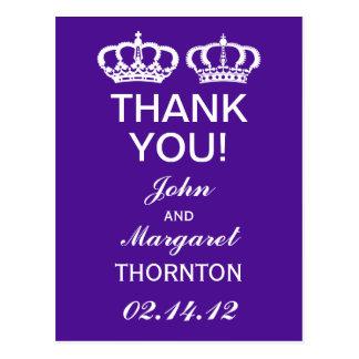 Los pares reales púrpuras le agradecen tarjeta postal