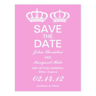 Los pares reales rosados ahorran la fecha tarjeta postal