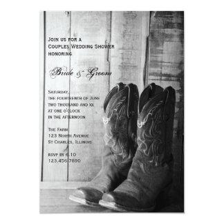 Los pares rústicos de las botas de vaquero que invitación 12,7 x 17,8 cm