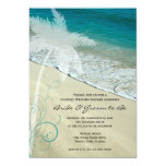 Los pares tropicales de la playa que casan la invitación 12,7 x 17,8 cm