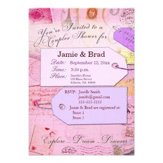 Los pares viajan tema de la ducha en rosa y púrpur