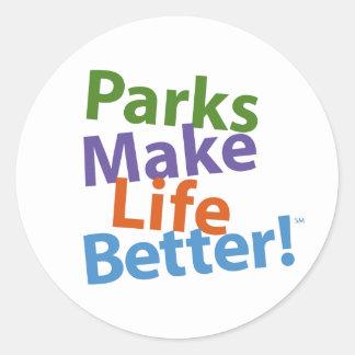 ¡Los parques hacen vida mejor Logotipo oficial Pegatina Redonda