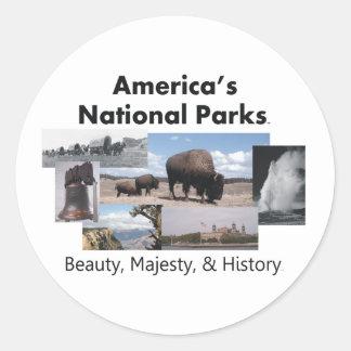 Los parques nacionales de América de la CAMISETA Pegatina Redonda