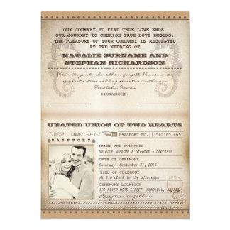los pasaportes del boda del destino del vintage invitación