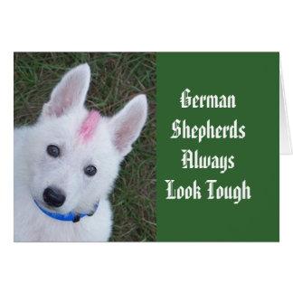 Los pastores alemanes parecen siempre duros tarjeta de felicitación