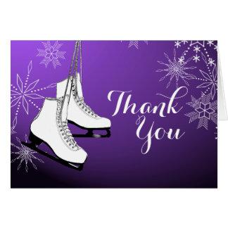 Los patines y los copos de nieve de hielo le agrad felicitación