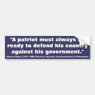 Los patriotas de EDWARD ABBEY deben estar listos p Etiqueta De Parachoque