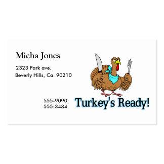 Los pavos alistan acción de gracias tarjeta de visita