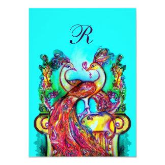"""Los PAVOS REALES EN turquase azul rojo del Invitación 4.5"""" X 6.25"""""""