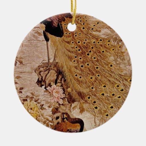 Los pavos reales y los Peonies rojos, artista Ornamento Para Reyes Magos