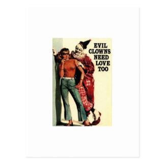 Los payasos malvados necesitan el amor, también tarjeta postal