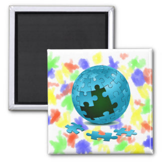 los pedazos azules del globo del rompecabezas caen imán cuadrado