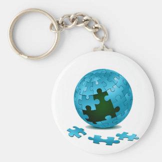 los pedazos azules del globo del rompecabezas caen llavero personalizado