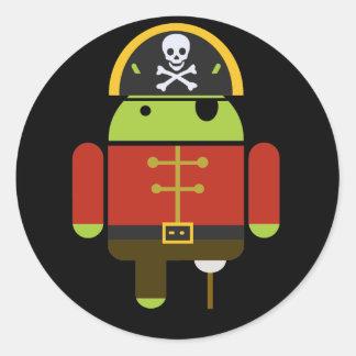 Los pegatinas androides del pirata pegatina redonda