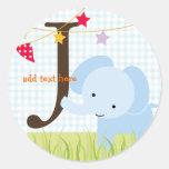 Los pegatinas azules del elefante/añaden el pegatinas redondas