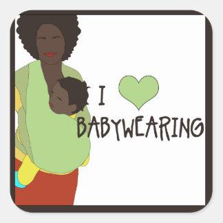 Los pegatinas cuadrados de I <3 Babywearing - Pegatina Cuadrada