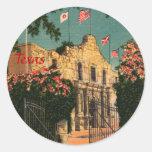 Los pegatinas de Tejas del vintage de Álamo Etiquetas Redondas