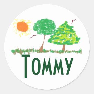 Los pegatinas de Tommy Pegatina Redonda