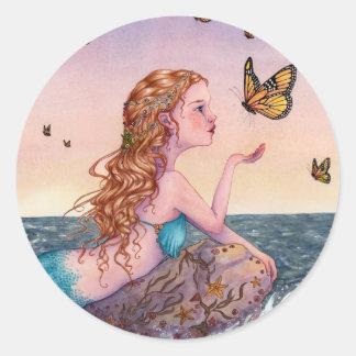 Los pegatinas del arte de la sirena - tráigame las pegatina redonda