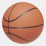 Los pegatinas del baloncesto, a la mano escriben pegatinas redondas