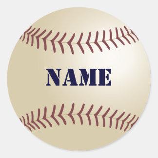 Los pegatinas del béisbol - añada su nombre pegatina redonda