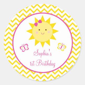 Los pegatinas del cumpleaños de la sol usted es mi pegatina redonda