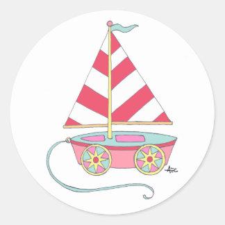Los pegatinas del velero del juguete náuticos es pegatina redonda