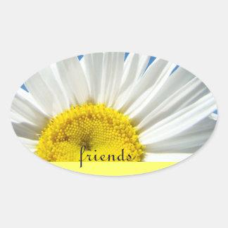 los pegatinas Diasy blanco de los amigos florecen Pegatina Ovalada