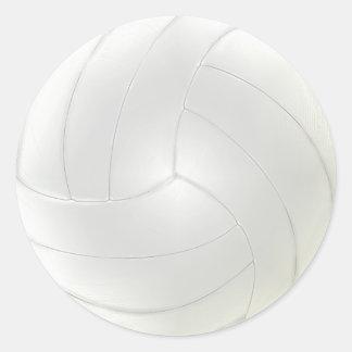 Los pegatinas en blanco del voleibol a la mano pegatina redonda