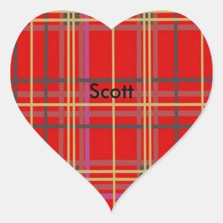 Los pegatinas escoceses de la tela escocesa o del pegatina en forma de corazón