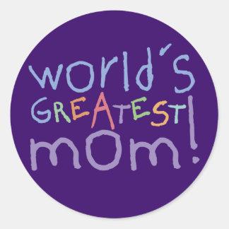 Los pegatinas más grandes de la mamá del mundo etiquetas redondas