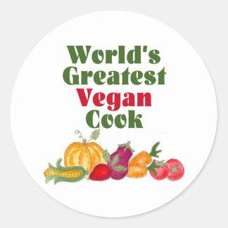 Los pegatinas más grandes del cocinero del vegano etiquetas redondas