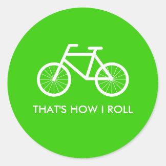 Los pegatinas verdes de la bicicleta con el montar pegatina redonda