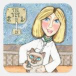 Los pegatinas veterinarios felices del amante del