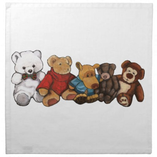 Los peluches, osos de peluche, engrasan arte en co servilletas imprimidas