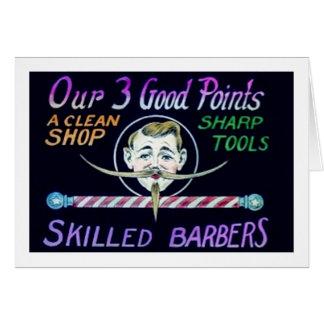 Los peluqueros de la peluquería de caballeros tarjeta de felicitación