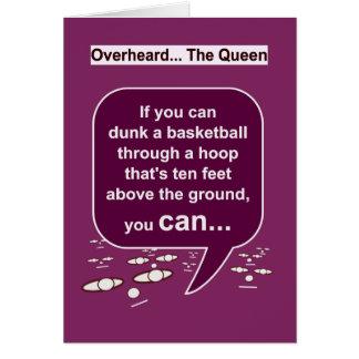 Los pensamientos de la reina en tarjeta de felicitación