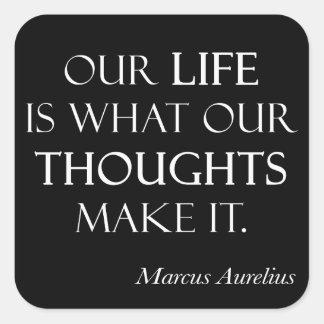 Los pensamientos de la vida de Marco Aurelius del Calcomania Cuadradas