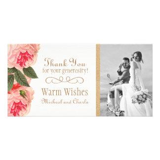 Los Peonies coralinos y rosados le agradecen la Tarjetas Fotográficas Personalizadas