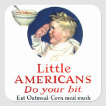 Los pequeños americanos del kitsch retro del calcomanía cuadrada